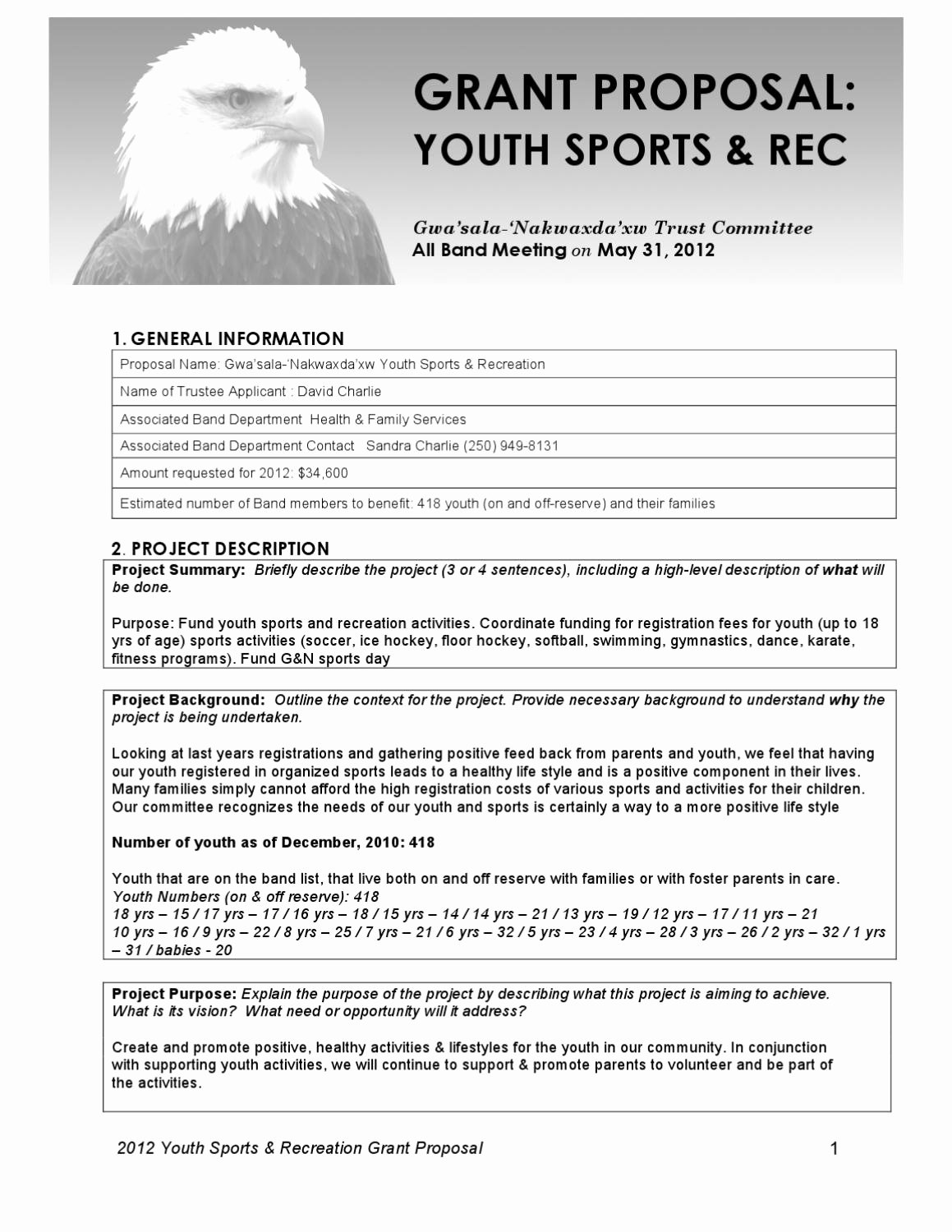 2012 Gn Trust Youth Sports and Rec Grant Proposal 2012 by