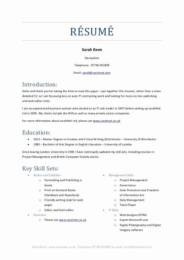 2014 Brief Resume Of Skill Sets Sarah Keen