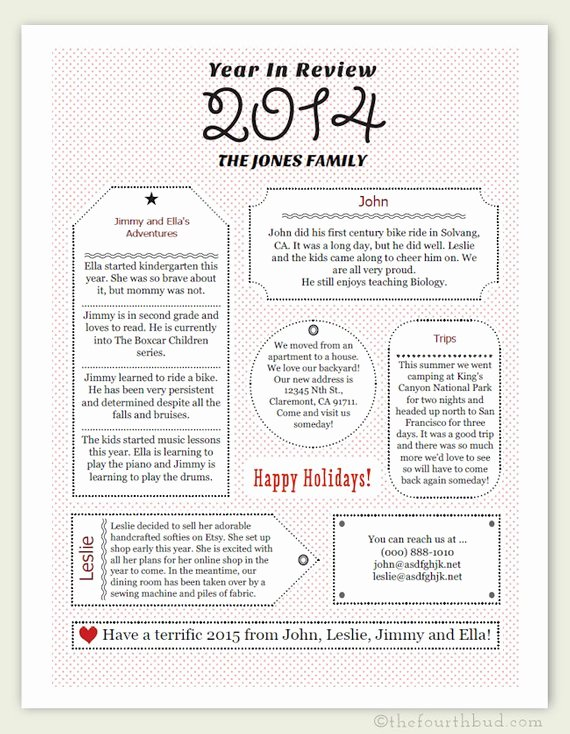 2014 Year In Review Christmas Letter Template In by