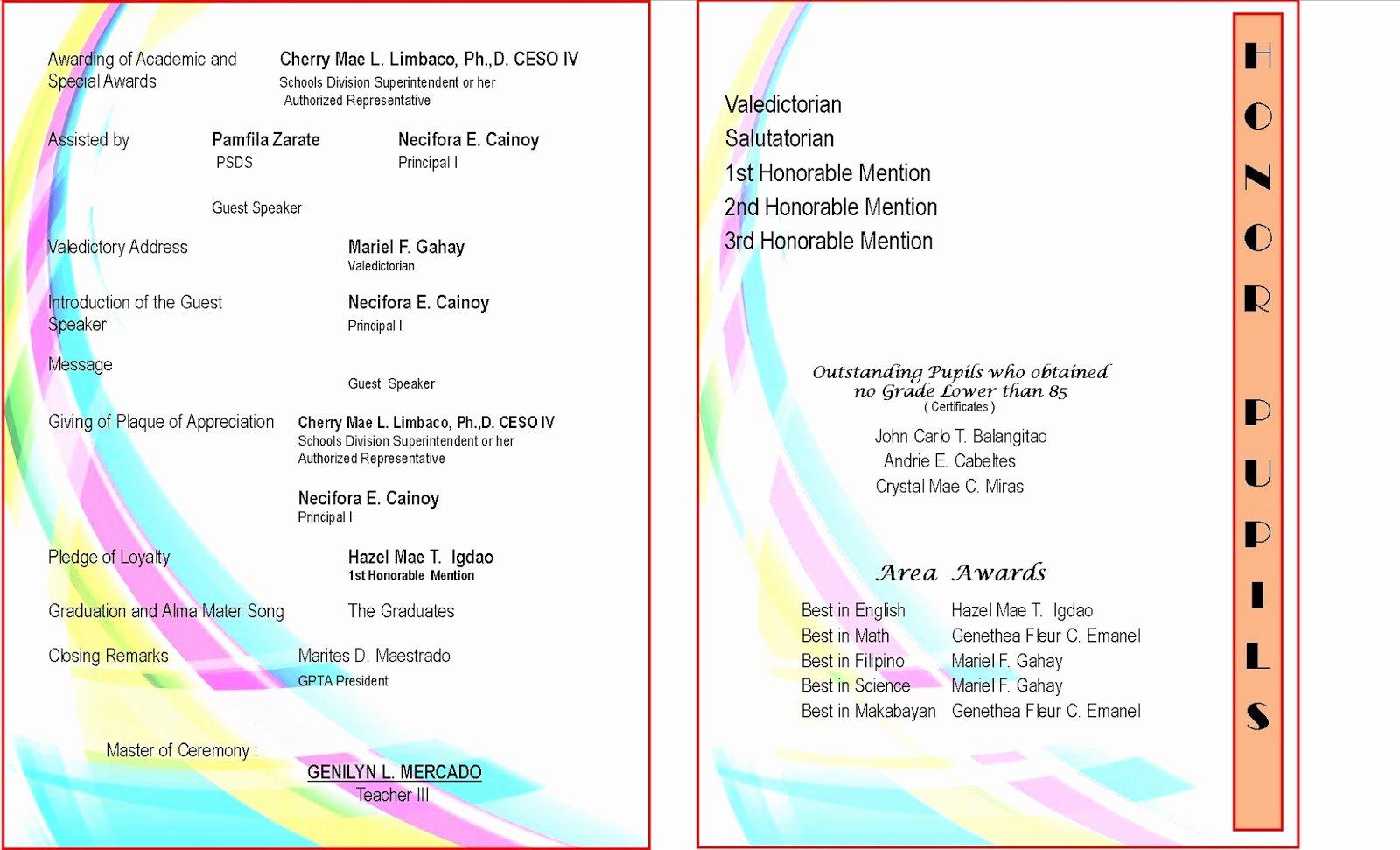 2015 2016 Graduation Program New Template Deped Lp S