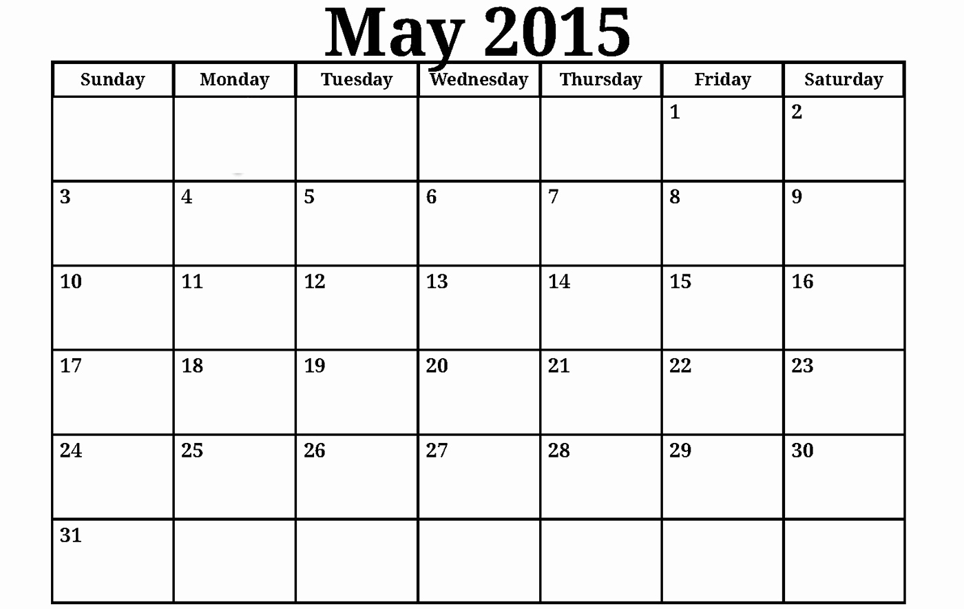 2015 Free Printable Monthly Calendar – 2017 Printable Calendar