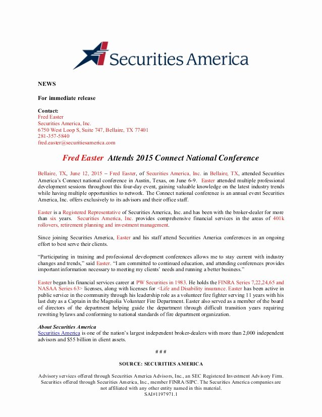 2015 National Conference Press Release Template
