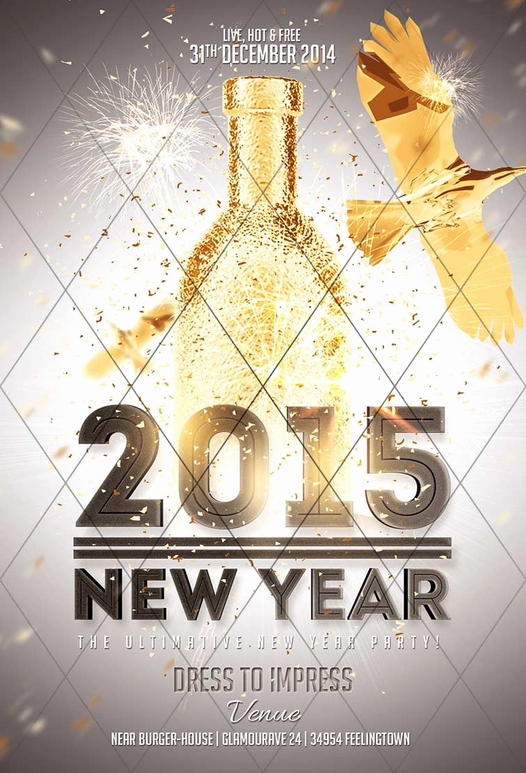 2015 New Year Gold Flyer Template Awesomeflyer Awesomeflyer