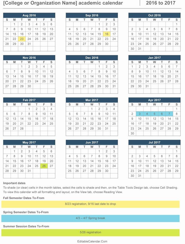 2016 2017 Academic Calendar Template In Ms Word