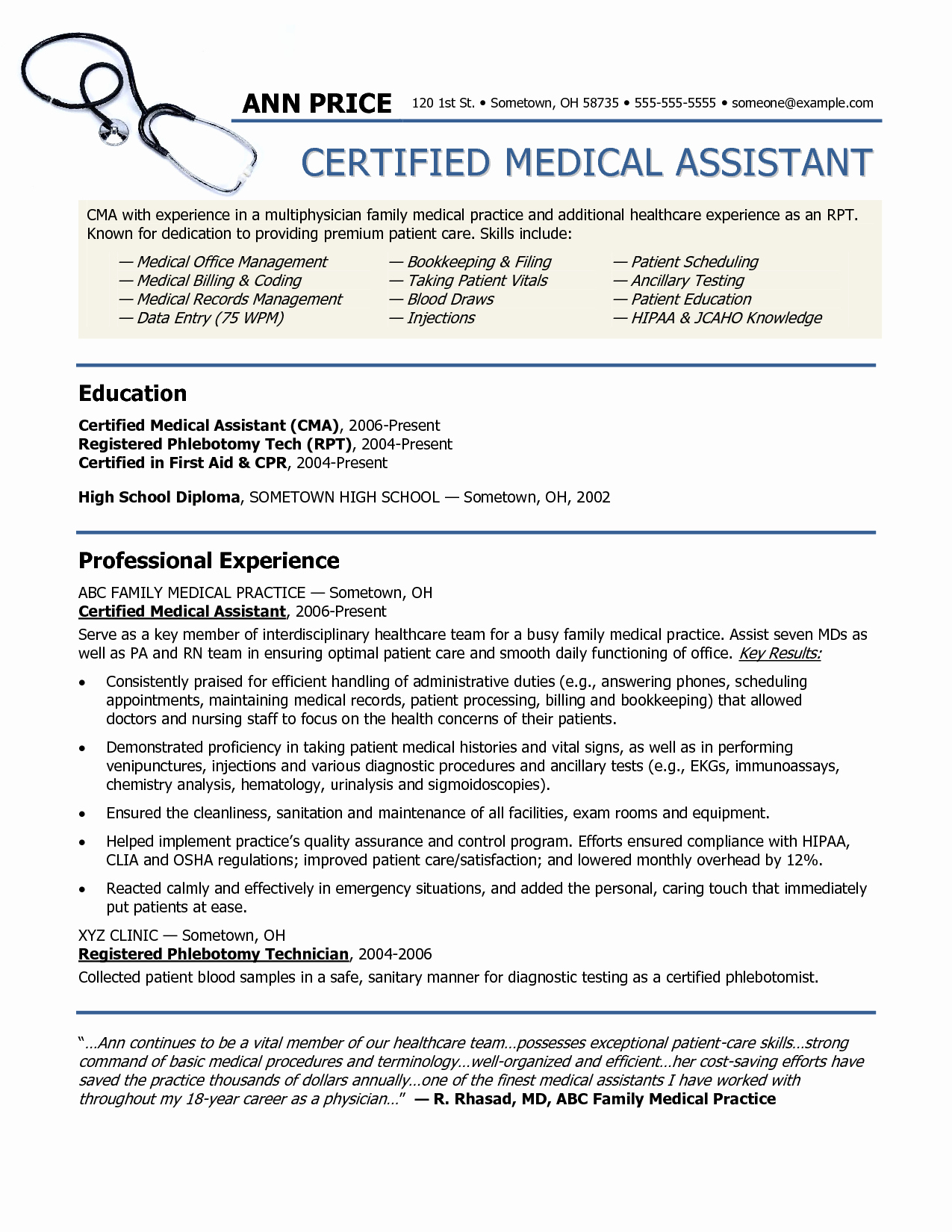 2016 2017 Sample Resume for Medical assistant