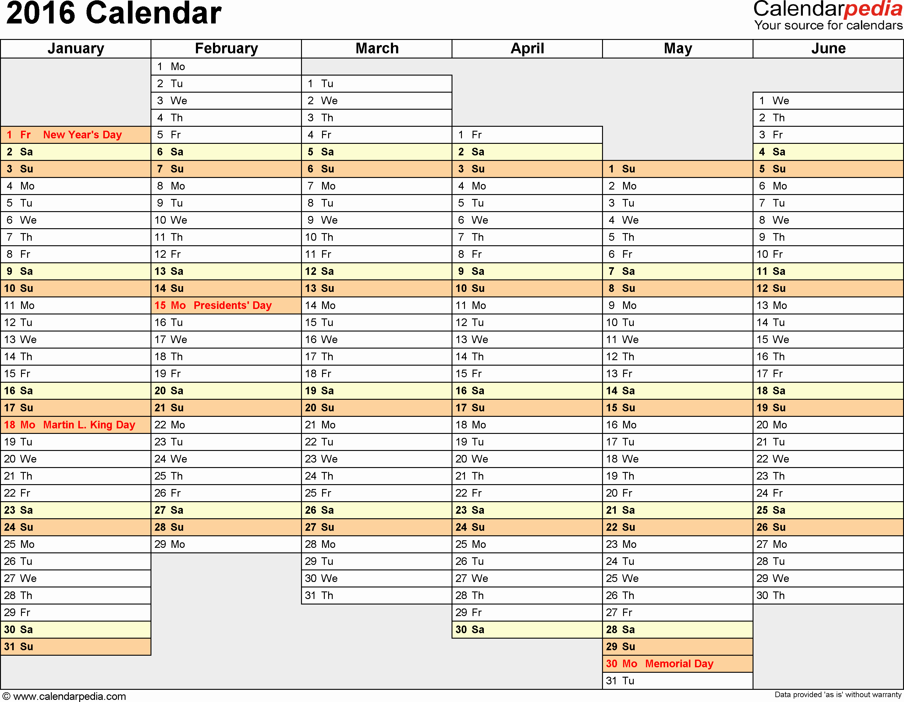 2016 Calendar Download 16 Free Printable Excel Templates