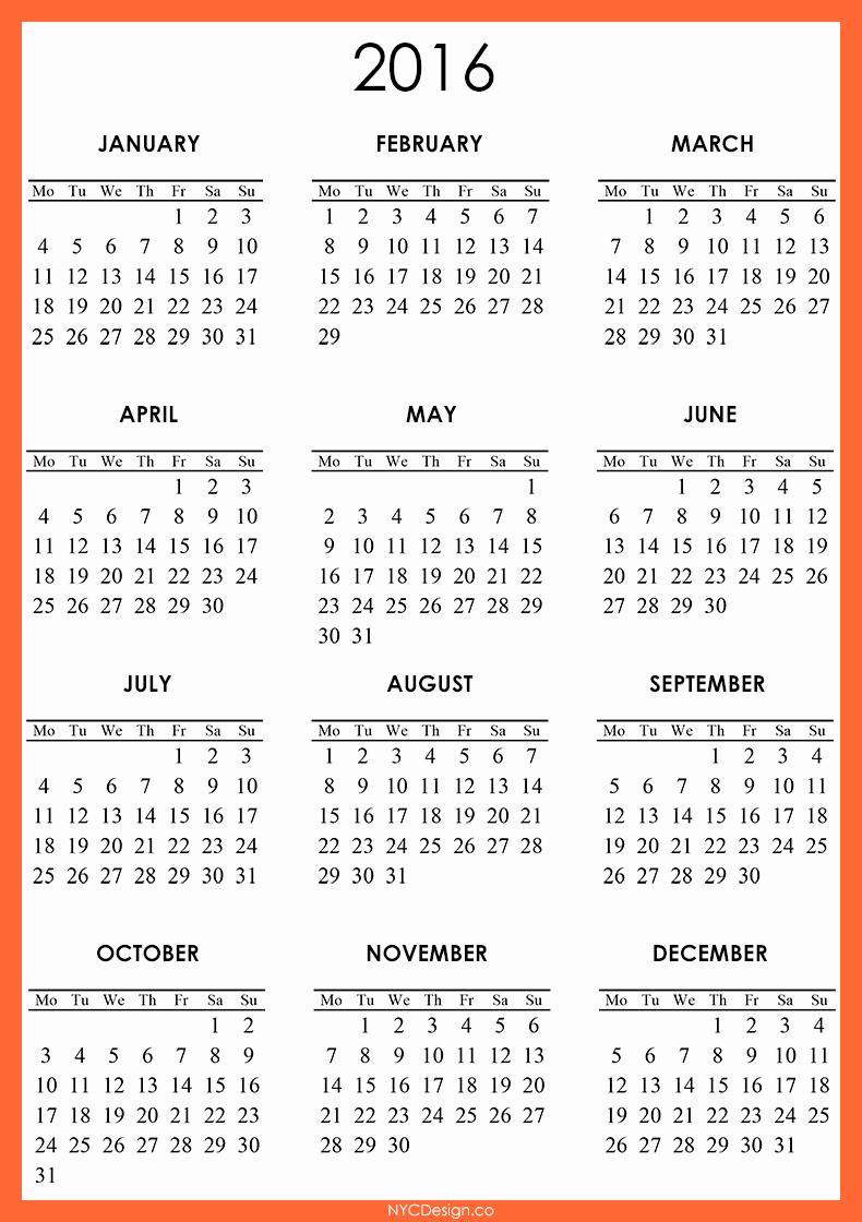 2016 Calendar Free