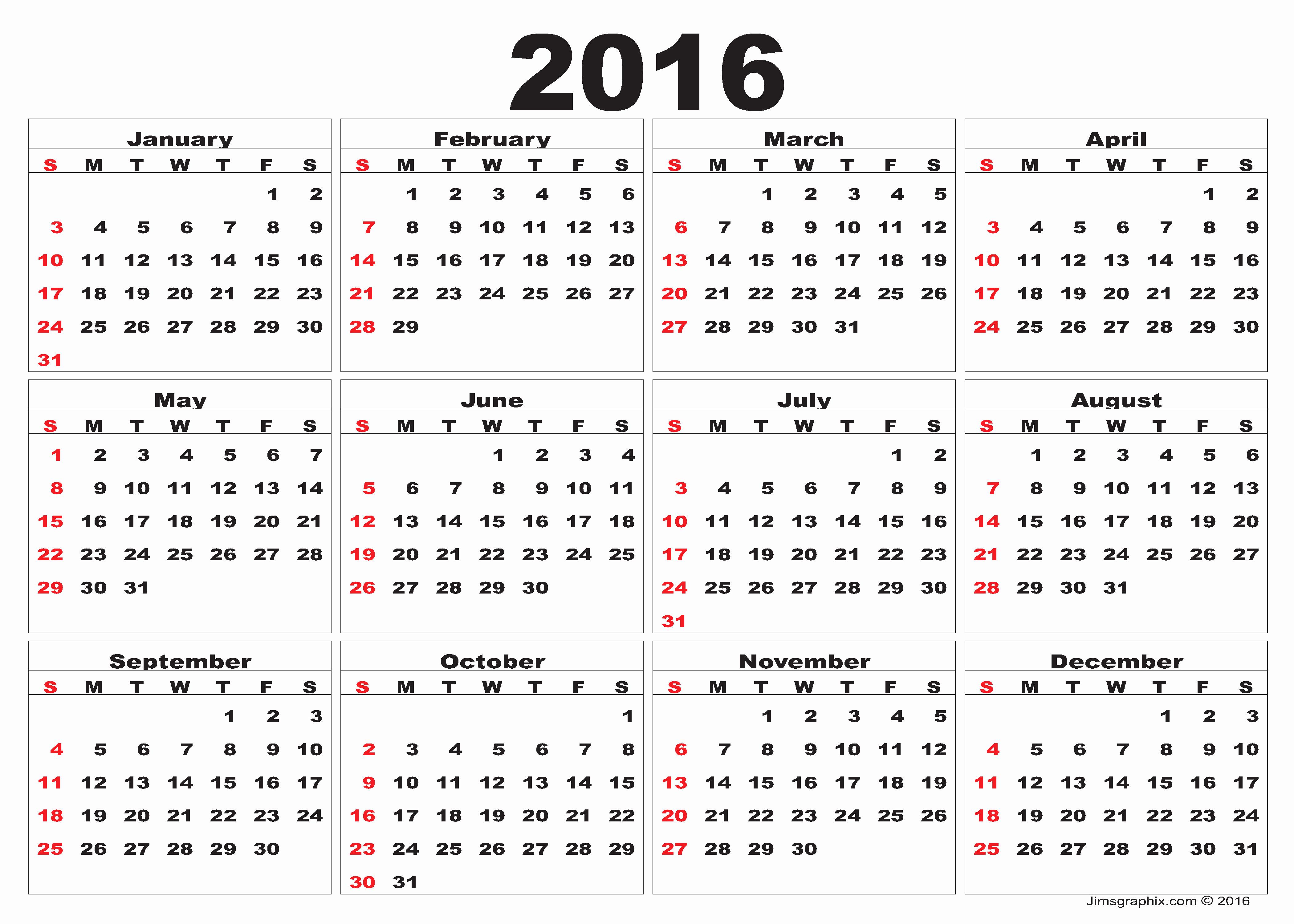 2016 Calendar – Printable Calendar Templates