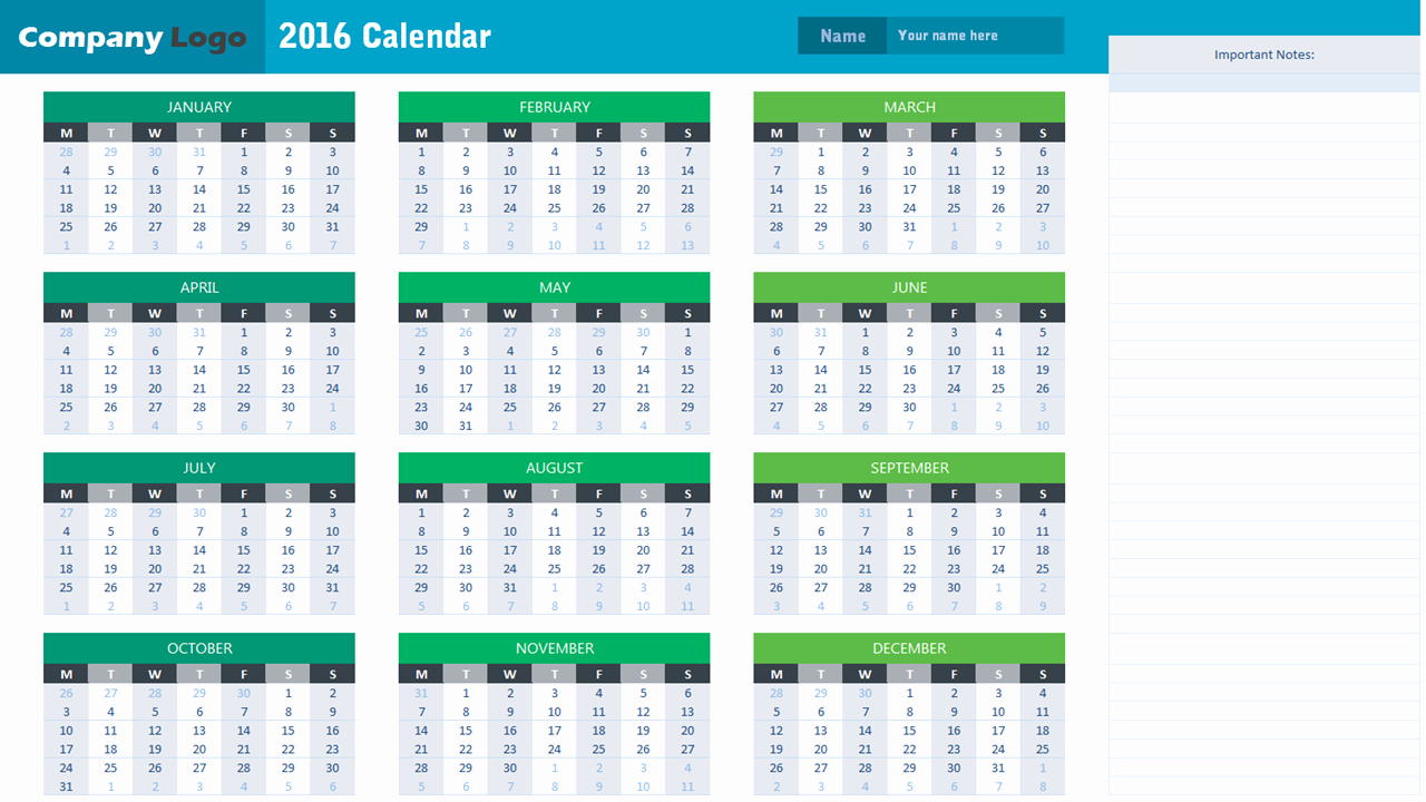 2016 Calendar Template Analysistabs Innovating Awesome