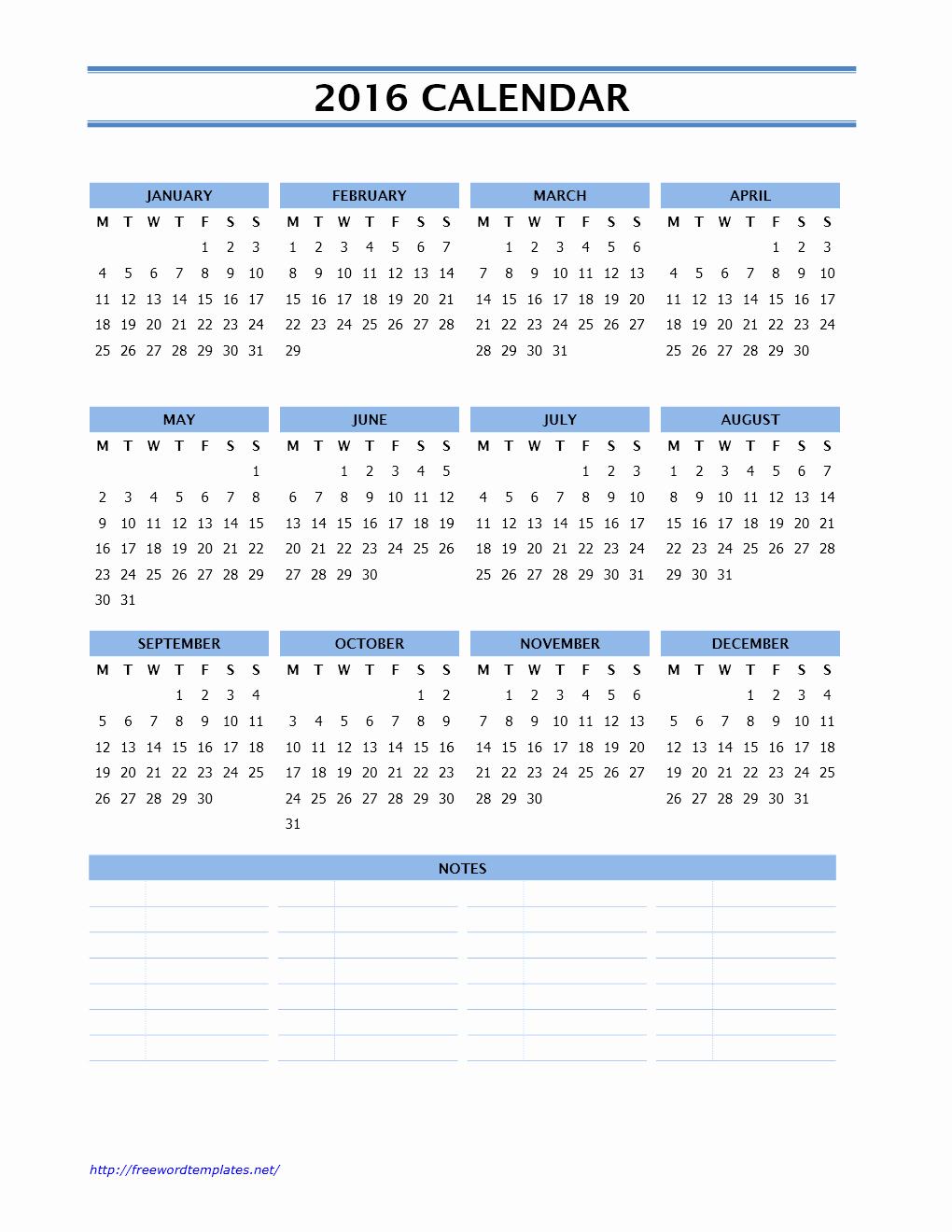 2016 Calendar Templates