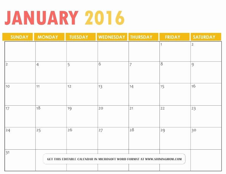 2016 Calendar Word Editable