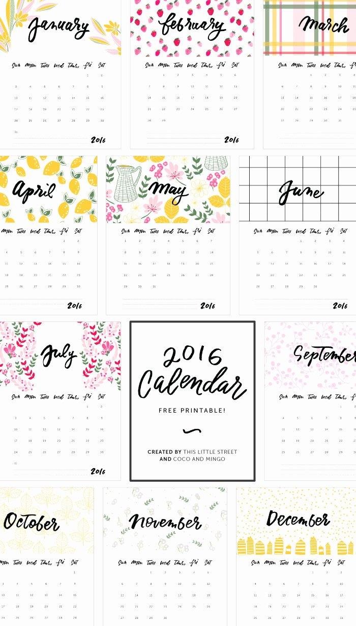 2016 Calendars to Print Free No Downloads