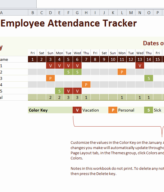 2016 Employee attendance Tracker My Excel Templates