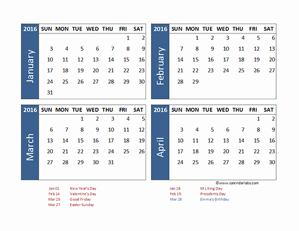 2016 Excel 4 Month Calendar Template Free Printable