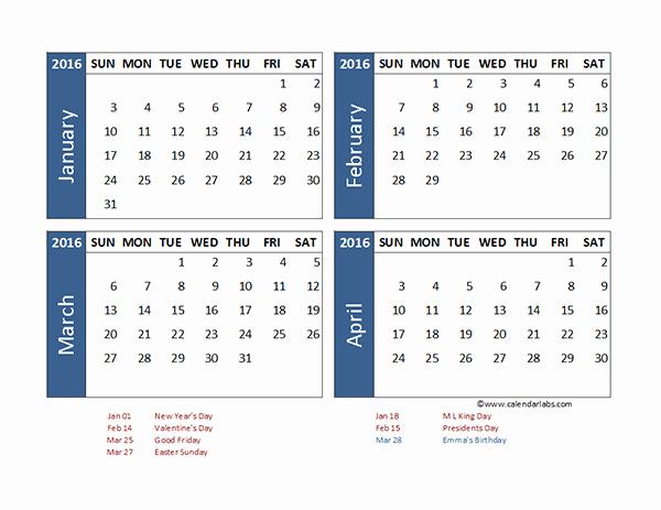 2016 Excel 4 Month Calendar Template Free Printable