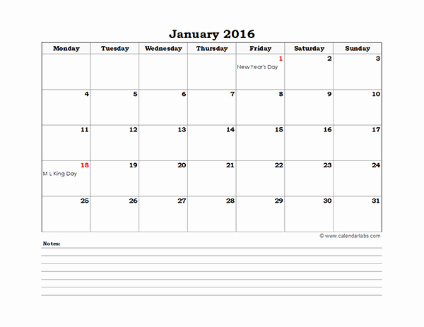 2016 Excel Monthly Calendar 01 Free Printable Templates