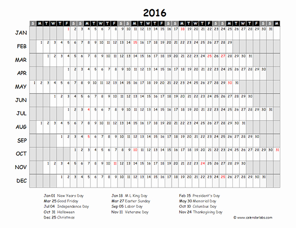 2016 Excel Yearly Calendar 03 Free Printable Templates