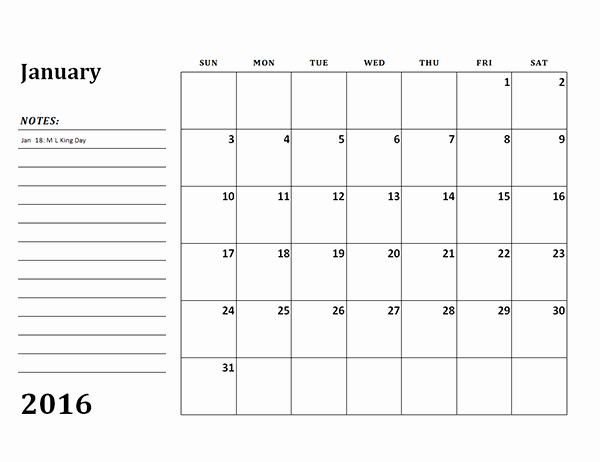 2016 Monthly Calendar Template 03 Free Printable Templates