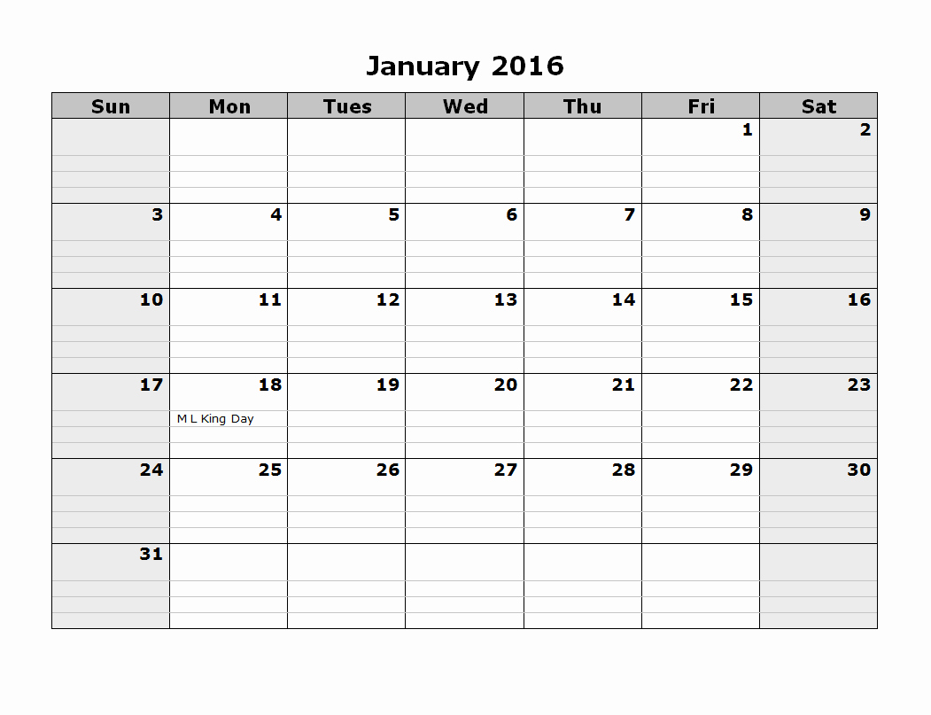 2016 Monthly Calendar Template 08 Free Printable Templates