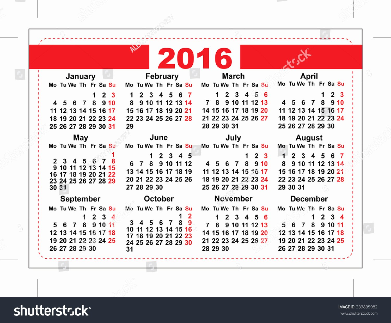2016 Pocket Calendar Template Grid Horizontal Stock