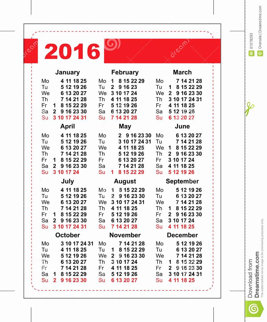 2016 Pocket Calendar Template Grid Vertical orientation