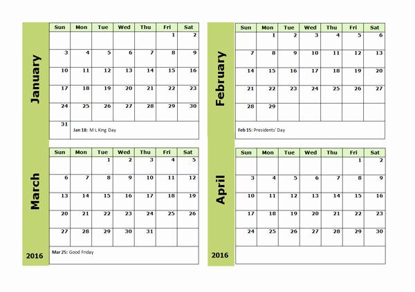 2016 Printable 3 Month Calendar