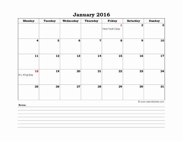 2016 Printable Calendar Templates In Excel