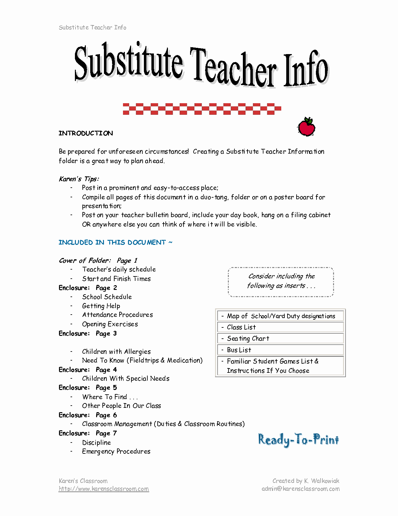 2016 Substitute Teacher Job Description
