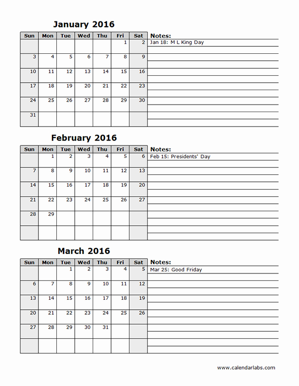 2016 Three Month Calendar Template 12l Free Printable