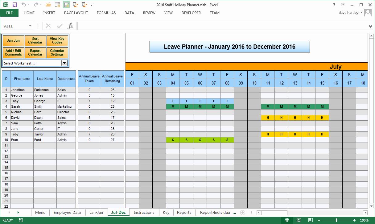 2016 Vacation Planner Calendar