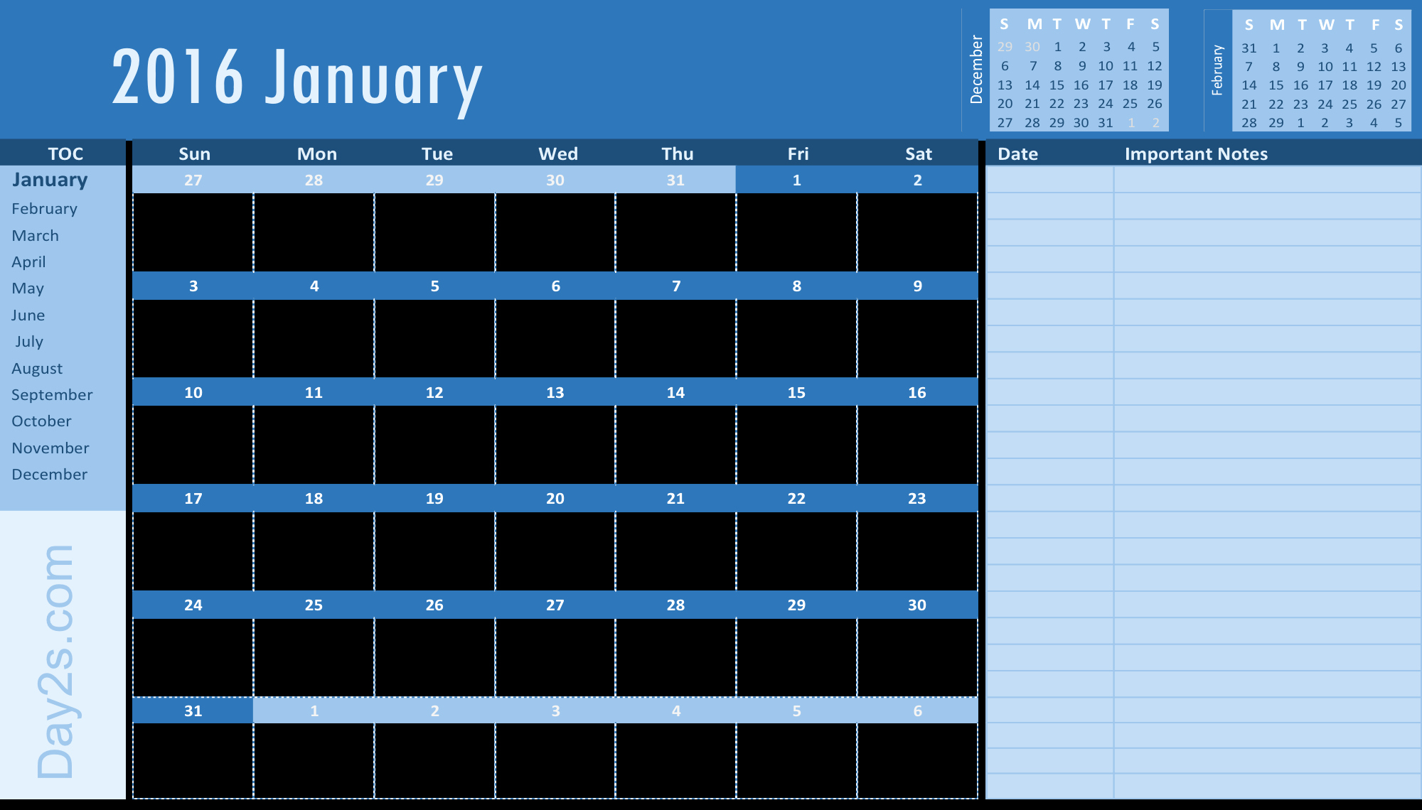 2016 Yearly Calendar Excel Template – Day2s