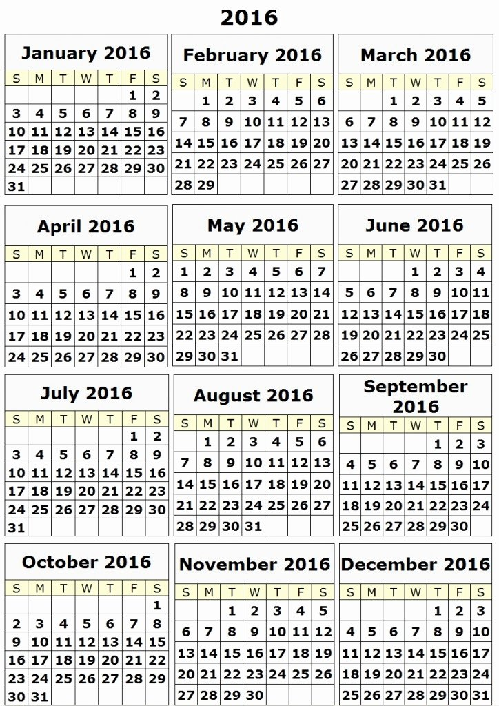 2016 Yearly Calendar Printable Calendar Template 2018