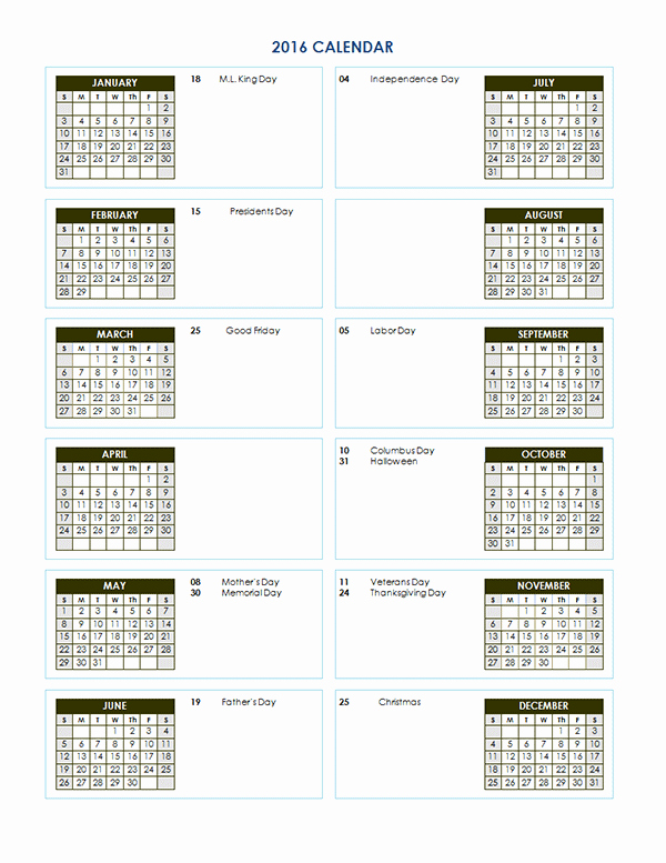 2016 Yearly Calendar Template 02 Free Printable Templates