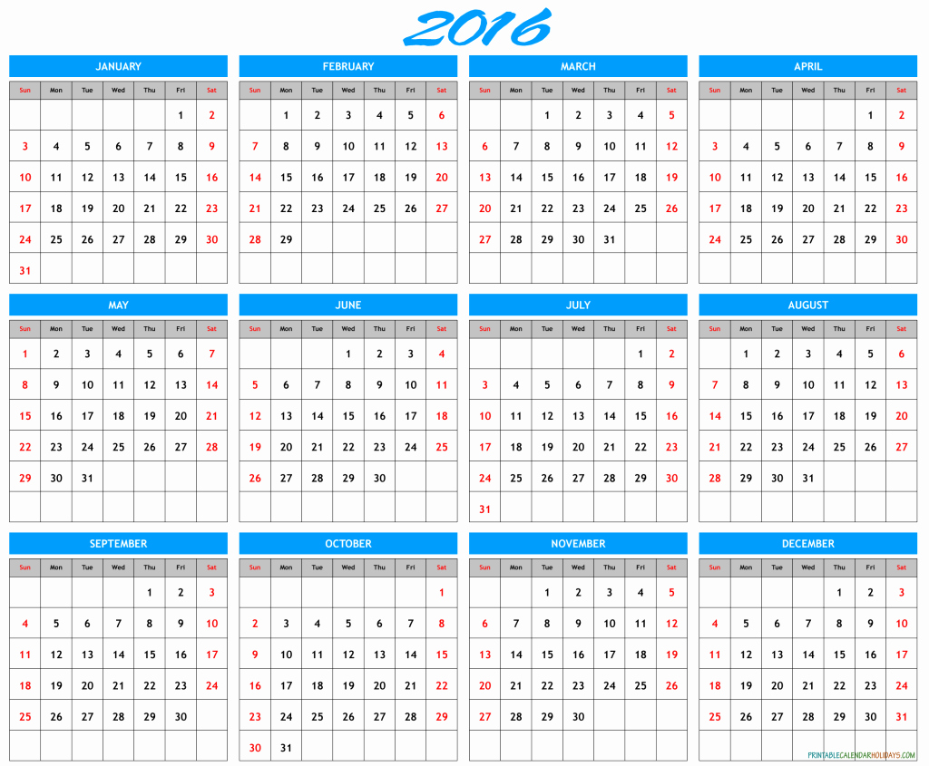 2016 Yearly Calendar Template Archives Free Printable