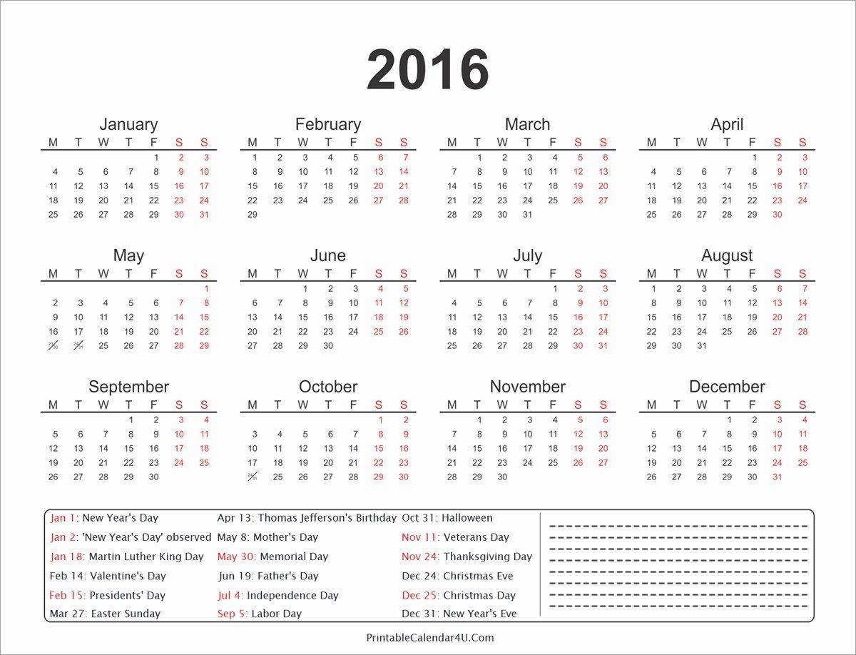 2016 Yearly Calendar with Holidays and Notes