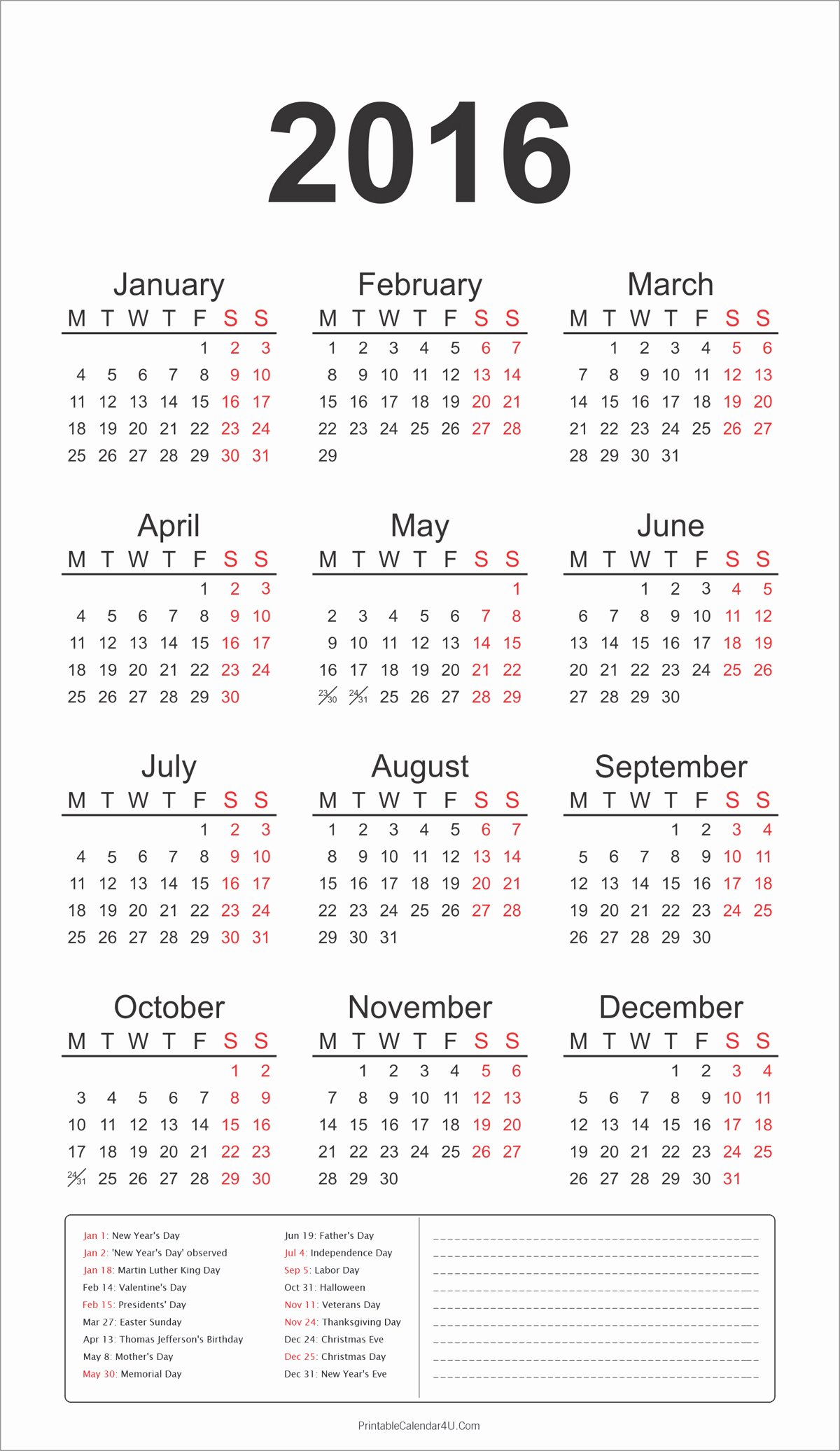 2016 yearly calendar holidays notes