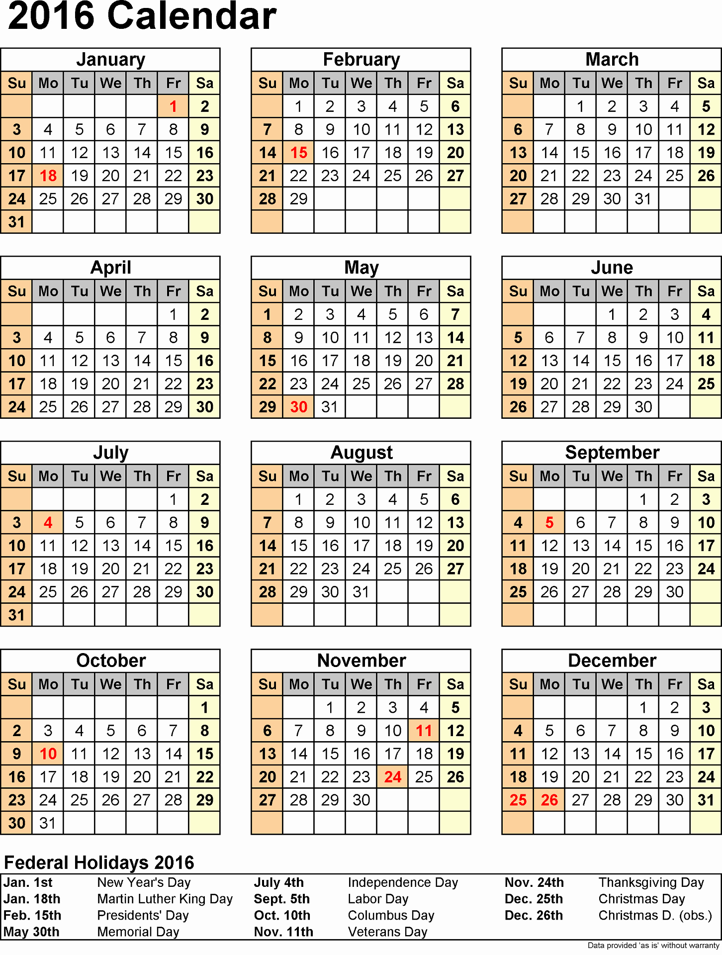 2016 Yearly Calendars with Holidays