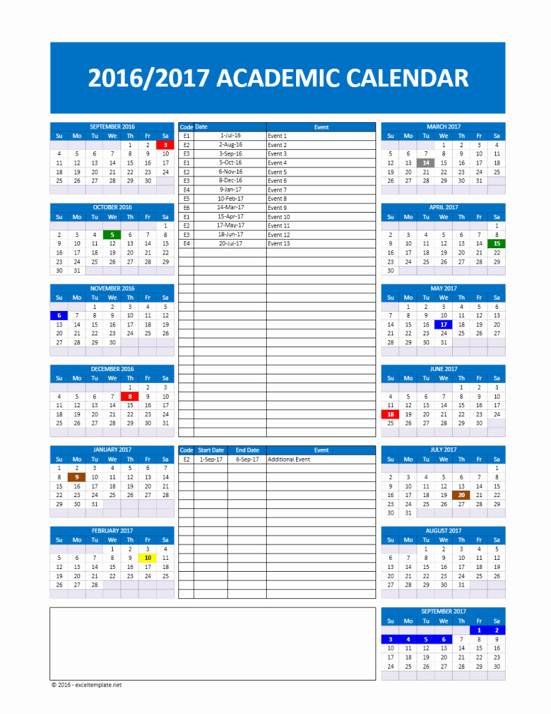 2017 2018 and 2016 2017 School Calendar Templates