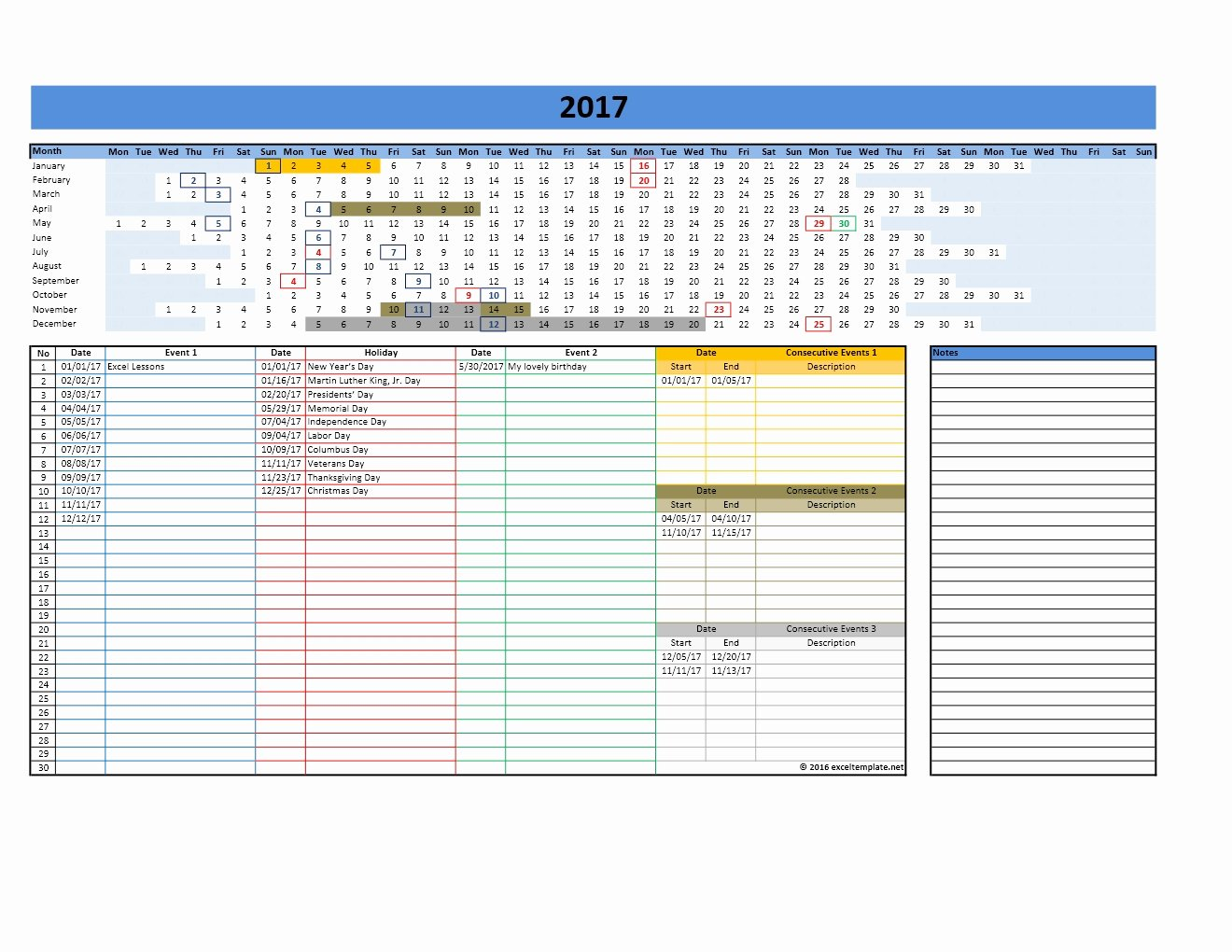 2017 and 2018 Calendars