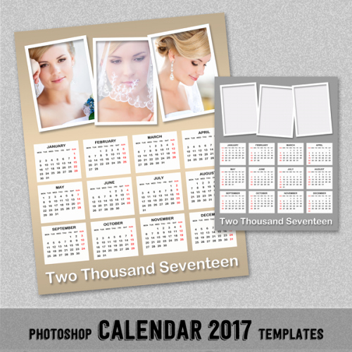 2017 Annual Calendar Shop Template 8x10 and 16x20