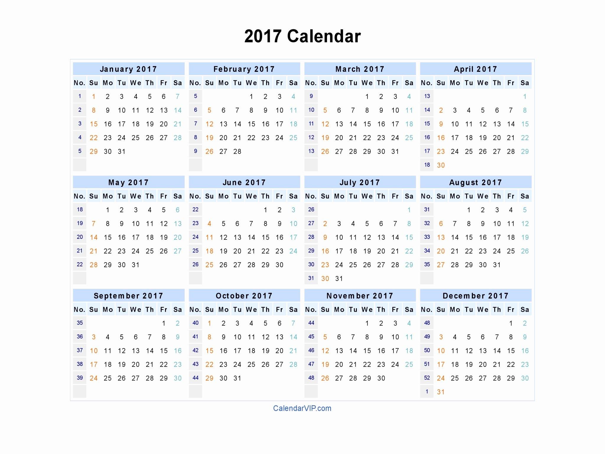 2017 Calendar Excel