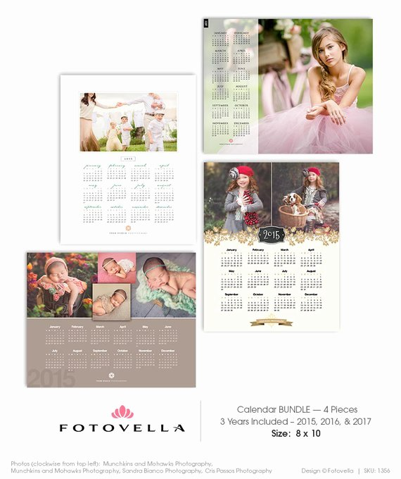 2017 Calendar Template Bundle Four 8x10 Shop Calendar