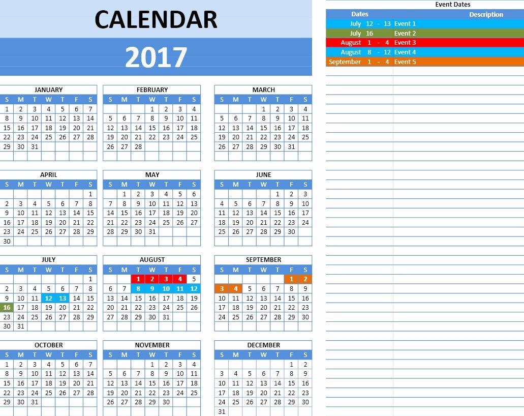 2017 Calendar Template Excel Templates