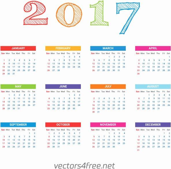 2017 Calendar Template Vector Free Vector In Adobe