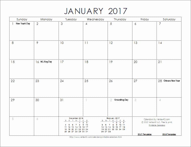 2017 Calendar Templates and