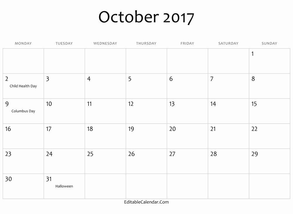 2017 Calendar Word