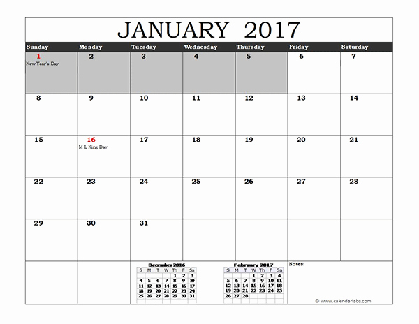 2017 Excel Calendar with Us Holidays Free Printable