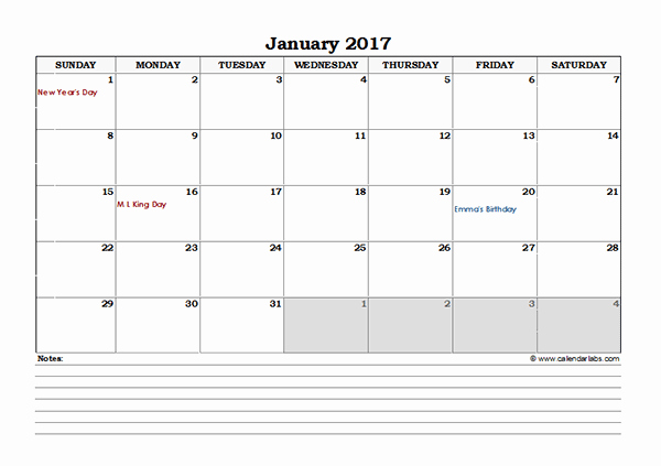 2017 Excel Monthly Calendar with Notes Free Printable
