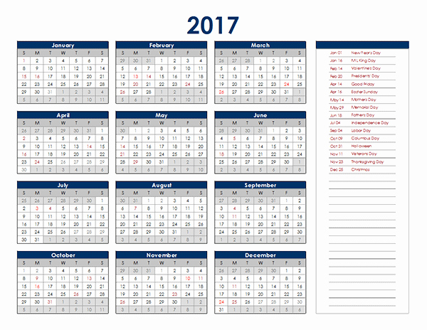 2017 Excel Yearly Calendar Free Printable Templates