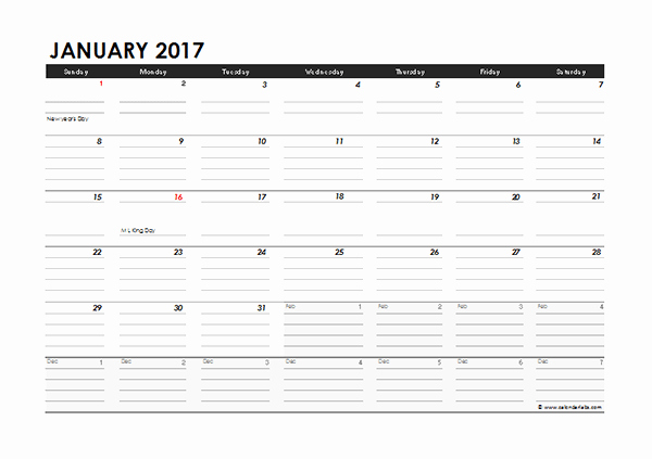 2017 Monthly Calendar Excel Template Free Printable